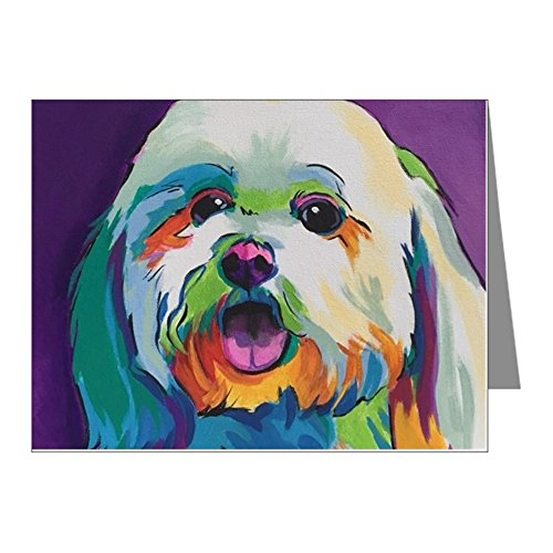 CafePress - Dash The Pop Art Dog Note Cards (Pk Of 20) - Blank Note Cards (Pack of 20) - Maltese Cards Christmas