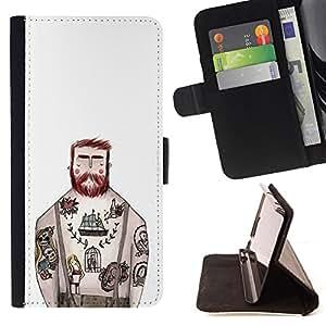 Jordan Colourful Shop - tattoo captain white ink rustic man For Apple Iphone 6 PLUS 5.5 - < Leather Case Absorci????n cubierta de la caja de alto impacto > -
