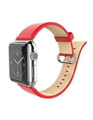 Happy Hours - 38mm Luxury Leather Strap Replacement Watch Band for Apple iWatch Sport and Edition with Stainless Steel Polished Clasp(Red)