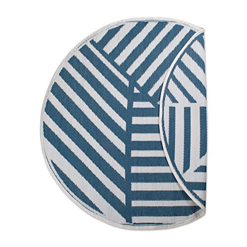 DII Contemporary Indoor/Outdoor Lightweight Reversible Fade Resistant Area Rug, Great for Patio, Deck, Backyard, Picnic, Beach, Camping, BBQ, 5' Round, Blue (Cushioned Deck Mat)