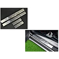 FMtoppeak Door Sill Protector Entry Guard Protection Stainless Steel For 2014-2016 Jeep Cherokee with Logo