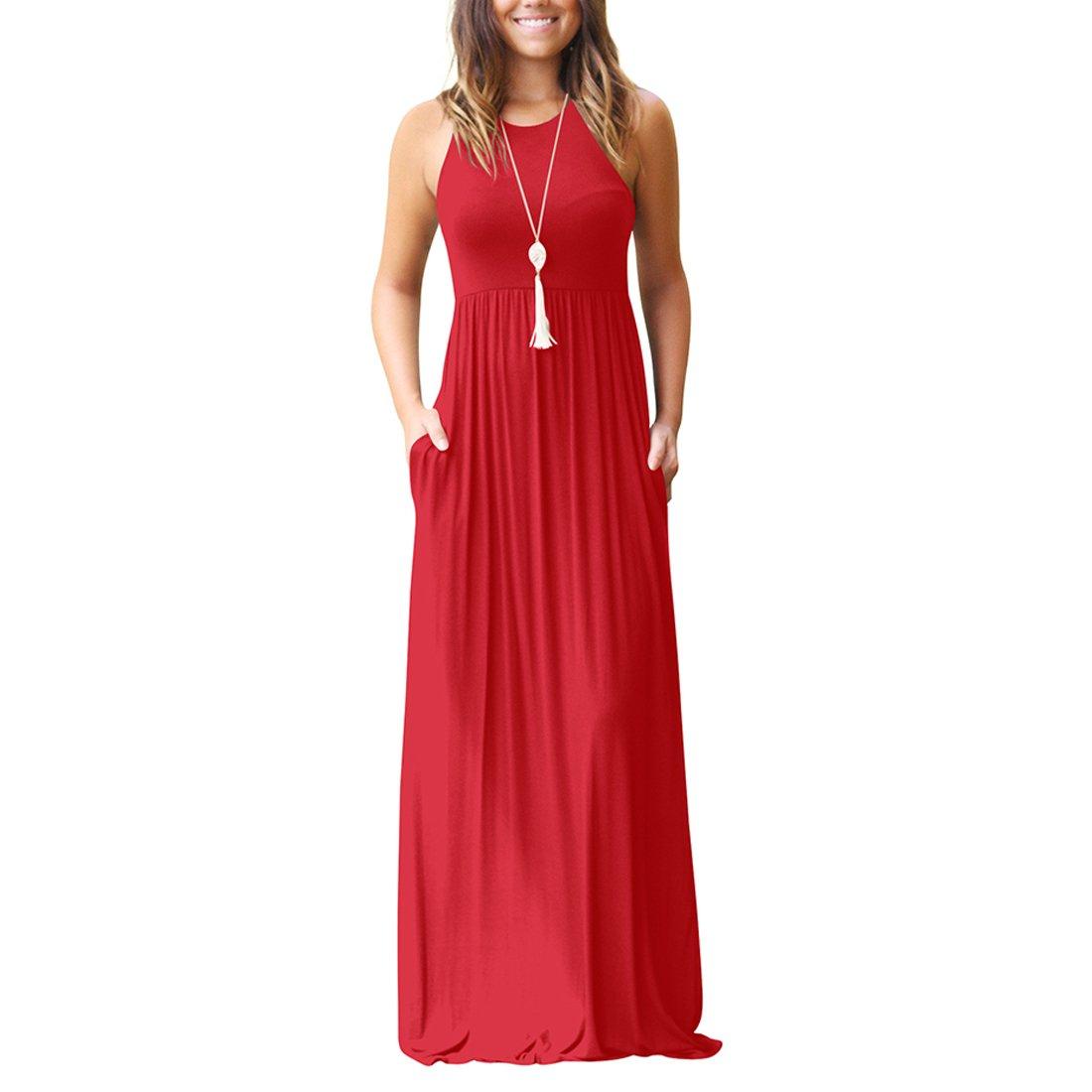 Aro Lora Women's Casual Sleeveless O Neck Ruffle Tank Long Maxi Dress with Pockets 6510