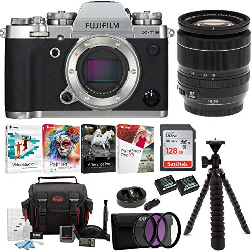 Fujifilm X-T3 Mirrorless Digital Camera w/XF18-55 Lens (Silver) Accessory Bundle + Sandisk 128GB Ultra UHS-I + 2 NP-W126 & Dual Charger + 58mm 3-Piece Filter Kit + Deluxe Photo Software