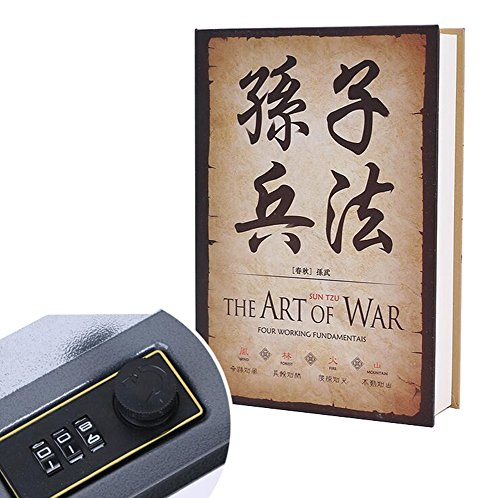 Plain Door Lock - Diversion Book Safes Secret Money Hiding Box Book Collection Box with (Password or Key) Lock Anti-Theft Safes With Combination Lock(The Art of the War)