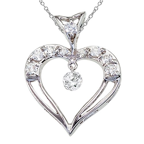 14K White Gold Dashing Diamond Heart Pendant Watch as the diamonds dangle glitter and sparkle in the setting!