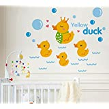 "BIBITIME Nursery Classroom Yellow Duck Wall Decal Bathroom Tile Window Sticker Kids Room Wave Bubbles Wall Art Mural, DIY 21.65"" x 17.32"""
