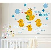 BIBITIME Nursery Classroom Yellow Duck Wall Decal Bathroom Tile Window Sticker Kids Room Wave Bubbles Wall Art Mural, DIY 21.65  x 17.32