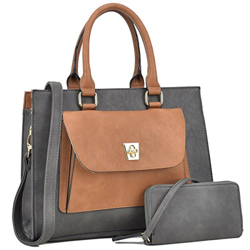 Dasein Handbags for Women Leather Tote Purses Satchel Handbags Colorblock Briefcases (Dark Grey)