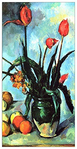 (ArtPlaza TW92196 Cezanne Paul - Still Life, vase with Tulips Decorative Panel 23.5x43.5 Inch Multicolored )