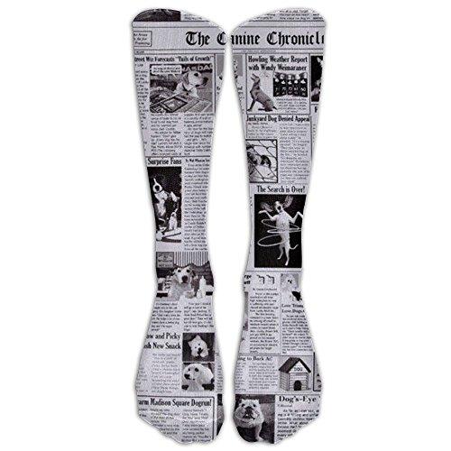 [NEW Newspaper Black Athletic Tube Stockings Women's Men's Classics Knee High Socks Sport Long Sock One Size] (Newspaper Flash Costume)