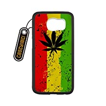 CASEYIMEI Country American Flag Marijuana Cannabis Weed Hemp Leaf Smoker Custom made Design Black Plastic and TPU Cell Phone Cases Cover for Samsung Galaxy S6 case