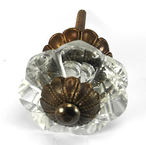 Art Deco Glass Cabinet Knobs, Dresser Drawer Handles & Pull Set/6pc ~ K164FF Art Deco Glass Knobs w/ Antique Brass Florentine Hardware for Armoire, Kitchen Cabinets, Cupboards, and Second Hand Furniture ()