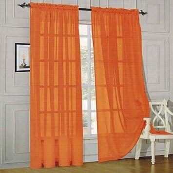 Amazon.com: Elegant Comfort voile84 Window Curtains Sheer Panel ...
