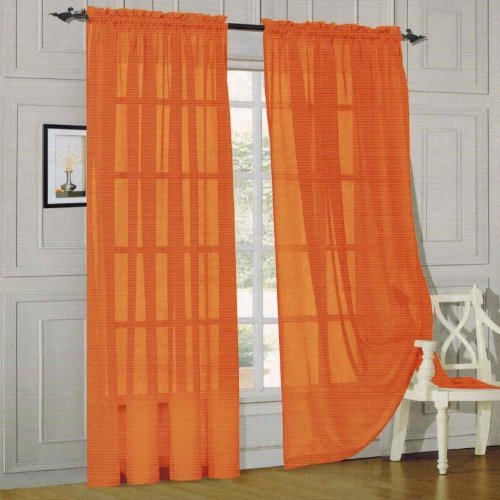 "Elegant Comfort® 2 Piece Solid Sheer 60"" x 84"" Window Curtains/drape/panels/treatment, Orange"