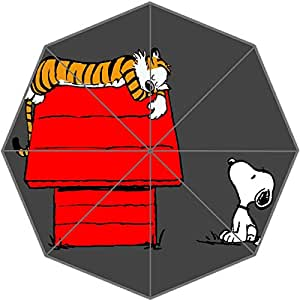 Custom DIY Hot Anime Cartoon Calvin And Hobbes Pattern Waterproof Sunny/Rain 43.5 inch Umbrella - Women/Man Portable Compact Foldable