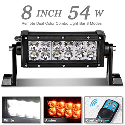 "AUTOSAVER88 54W 8"" Amber White LED Light Bar Flood Spot Combo Beam Work Lamp with Wireless Remote Controller, 3 Year Warranty"