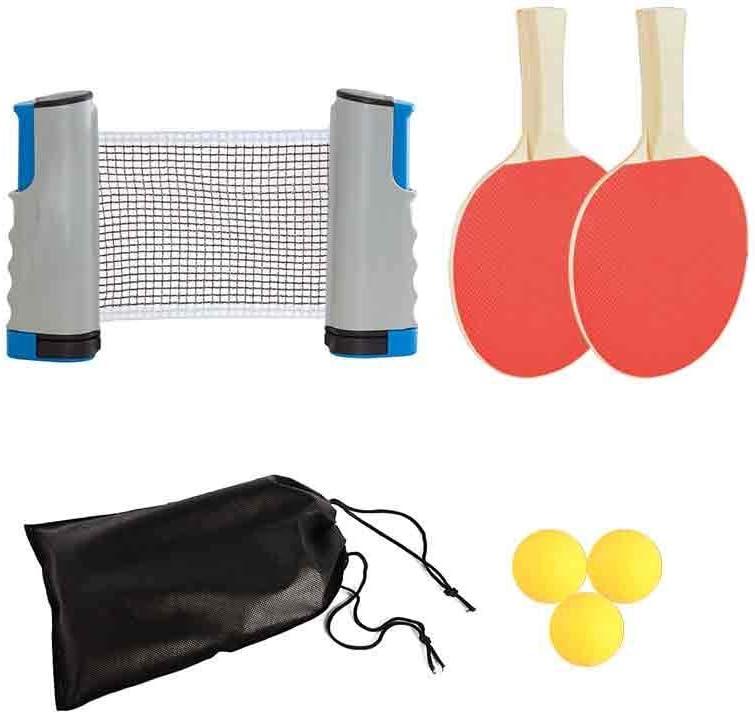 Juego de tenis de mesa para niños, 1 red expandible con estante, 2 palas de ping pong, 3 pelotas de ABS, accesorio de ping pong, para interior/exterior, para la escuela/hogar