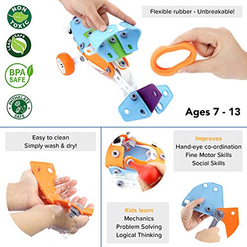 Toy Pal   STEM Toys for Boys   146 Piece Educational Engineering Building  Toys Set for Boys & Girls Ages 7 8 9 10 Years Old   5, 6 Year Old can Build