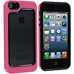 Accessory Planet(TM) Black / Hot Pink Hybrid TPU Bumper Hard Frame Case Cover for Apple iPhone 5 / 5S