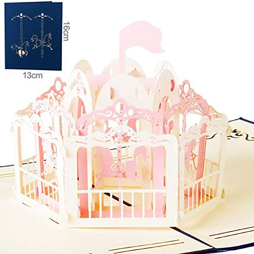 Greeting Cards 3D Pop Up Cards Carousel Lover Happy Birthday Anniversary]()