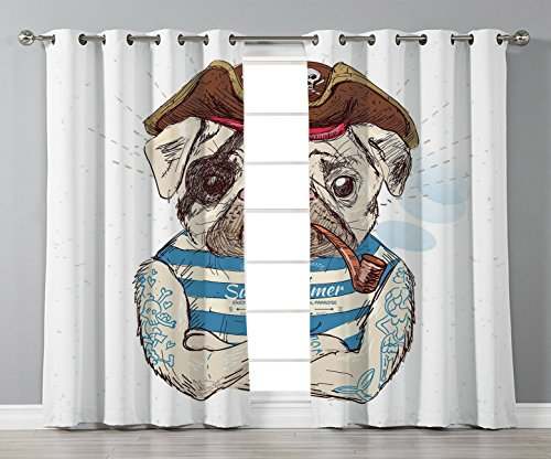 Thermal Insulated Blackout Grommet Window Curtains,Pug,Pirate Pug Conqueror of the Seas Pipe Skulls and Bones Hat Striped Sleeveless T Shirt Decorative,Brown Blue,2 Panel Set Window Drapes,for Living