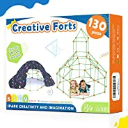 Tiny Land Kids-Fort-Building-Kits-130 Pieces-Creative Fort Toy for 5,6,7 Years Old Boy & Girls- Learning T