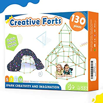 Tiny Land Children-Fort-Constructing-Kits-130 Items-Inventive Fort Toy for five,6,7 Years Outdated Boy & Women- Studying Toys DIY Constructing Castles Tunnels Play Tent Rocket Tower Indoor & Out of doors