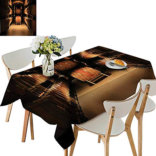 Aged Blended Wine - UHOO2018 Square/Rectangle Tablecloth Waterproof Polyester Wine Barrel Stacked in Cellar Aged Old Fermenting Quality Container Storage Basement Image Wedding Birthday Party,54 x102inch