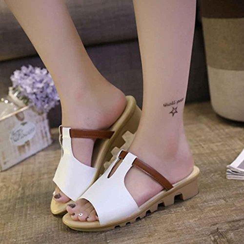Ama (tm) Mujer Summer Sandals Slipper Chanclas Para Exteriores Con Interior Zapatos De Playa Blanco
