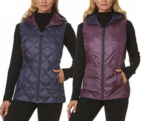 (Gerry Women's Reversible Hooded Down Vest (Small, Indigo/Port))