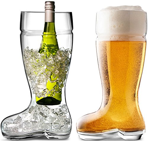 Circleware Das Boot Glass Beer Glasses Drinking Mug, Funny Shaped Entertainment Beverage Glassware for Water, Juice, Iced Tea, Liquor and Bar Barrel Liquor Dining Decor, 1 Boot, Large 1 Liter by Circleware (Image #4)