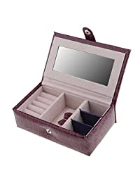 MonkeyJack Small Faux Leather Travel Jewelry Box Organizer Display Storage Case for Rings Earrings Necklace