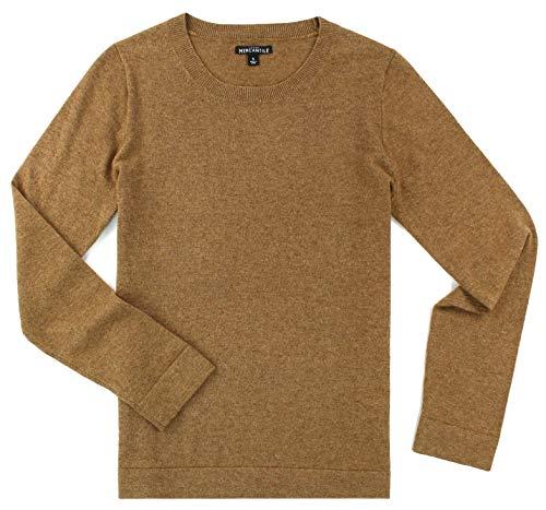 J. Crew - Women's - Cotton/Wool Blend Crew Neck Long Sleeved Sweater (Multiple Color Options (Medium, Heather Camel)