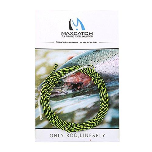 M MAXIMUMCATCH Maxcatch Tenkara Tapered Fly Fishing Line Braided Furled Line 12/13ft (Yellow-Black, 12ft)