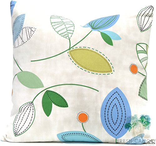 Springtime Accent - Blue Springtime Accent Pillow - Magnolia Home Fashions Calder Ocean Pillow Cover - 20 Different Sizes - Bottom Invisible Zipper