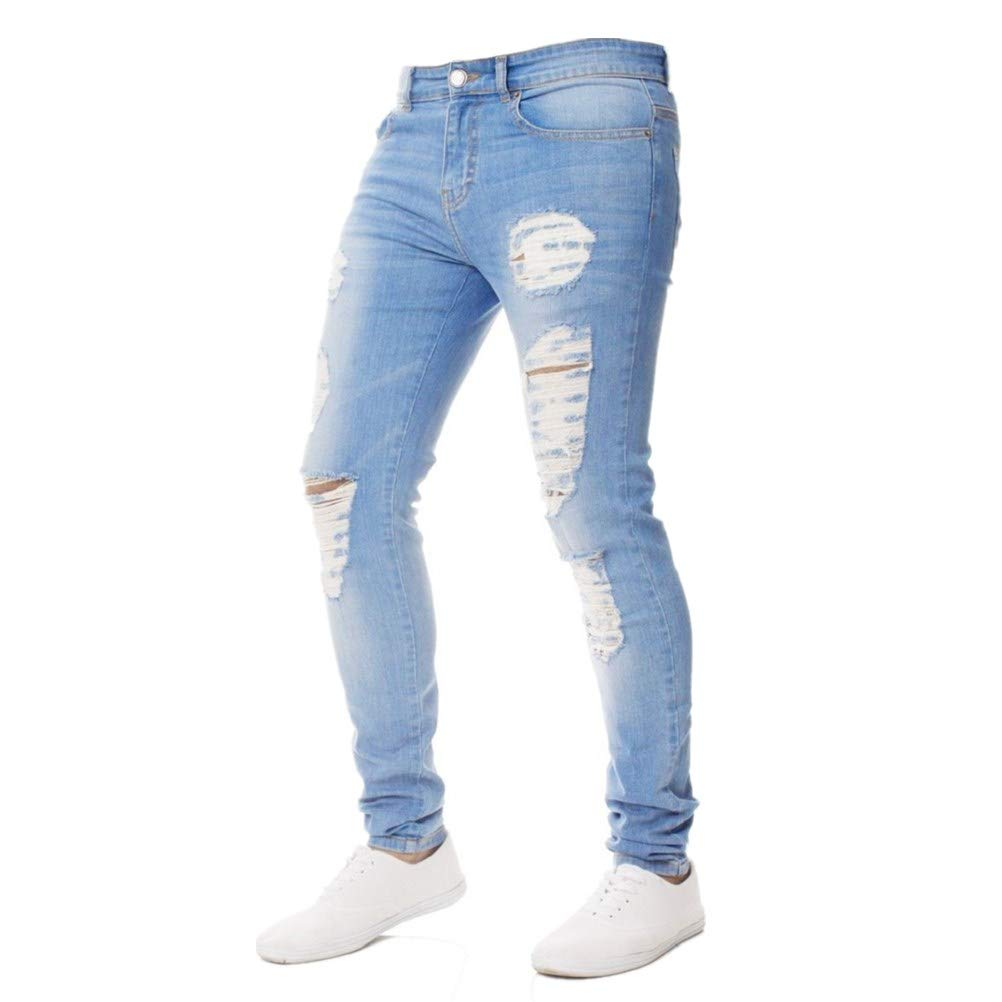 Photno Men's Distressed Ripped Jeans Fashion Slim Fit Tight Biker Moto Holes Denim Pants Size 28-38
