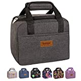Buringer Cute Insulated Lunch Bag Box Cooler Tote Bento Container with Front Pocket for Women/Men/School/Work/Picnic (Dark Grey)
