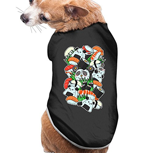 Puppy Pet Dog Cat Fashion 100% Polyester Fiber Cartoon Cute Sushi Panda Summer Costumes, Clothing, Shirt, Vest, T-shirt, Tee Gift For Any Animal Fan Lovers Black Large - Salmon Sushi Costume