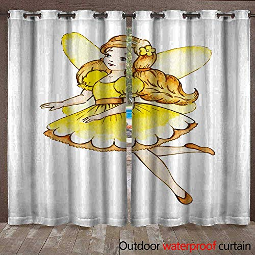 Home Patio Outdoor Curtain Little Cute Magic Fairy Watercolor Illustration Kids Clipart Waterproof CurtainW108 x L96 -