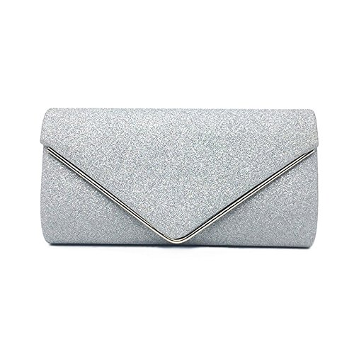 for Women Evening Wedding Bag Ladies Bolsas Shiny Clutch Envelope Glitter Vintage Bags Women Bags Fashion Luxury Silver Handbags Silver wqxZafSRF