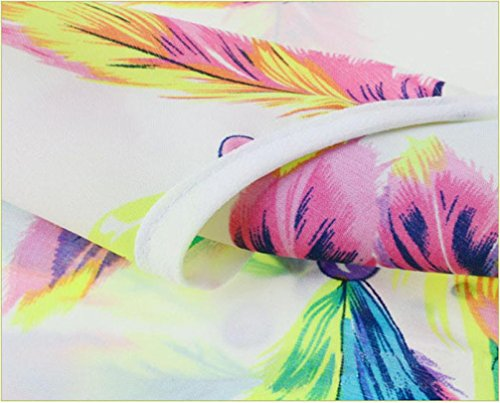 Col Femme Top Rond Courte Soie Shirt T Haut Multicolore Shirt Eté Tee Shirt Casual Femme en Lonshell Manche Taille Imprimé M Loose Blouse Maxi Vrac XL Plumes LuckyGirls en Mousseline de qttYw