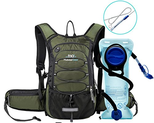 Mubasel Gear Insulated Hydration Backpack Pack 2L BPA Free Bladder – Keeps Liquid Cool up to 4 Hours Running, Hiking, Cycling, Camping (Olive)