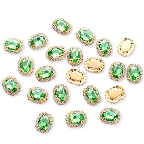 Crystal Rhinestones Sewing on, Premium Rhinestones Flatback Beads Buttons with Bling Diamonds, DIY Crafts Gems for Clothing, Bags, Shoes, Dress, Wedding Party Decoration (Green)
