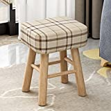 [child] [rural] Space saving Changing shoes stool [compression] Sponge Round stool Tea table Shoes stool-Square - Grid - High 353043cm