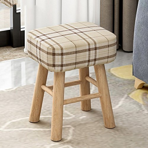 [Child] [Rural] Space Saving Changing Shoes Stool [Compression] Sponge Round Stool Tea Table Shoes Stool-Square – Grid – High 353043cm