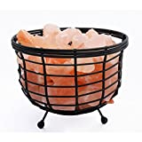 Manhattan Comfort Accentuations by 8-inch Himalayan Wired Basket Lamp 1.0 with Natural Rocks and Dimmer