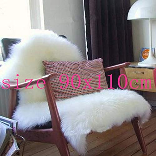 (Wisfren Sheepskin Chair Cover Seat Pad Soft Carpet Hairy Plain Skin Fur Plain Fluffy Area Rugs Bedroom Faux Carpet)