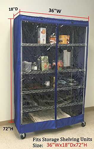 Storage Shelving unit cover, fits racks 36''Wx18''Dx72''H Royal, one side see through panel (Cover Only) by Formosa Covers