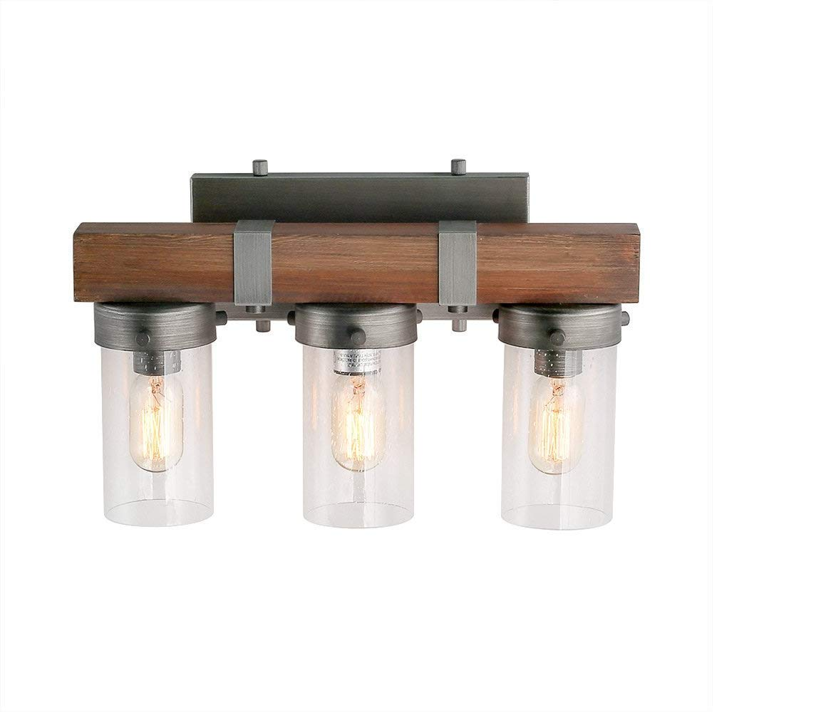 Log barn 3 lights wooden vanity light in real distressed wood and brushed antique silver finish with cylindrical bubbled glass shades 18 1 bathroom