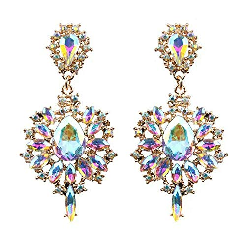 - Tanakorn Drop Earrings Colorful Flower Rainbow Design Luxury Starburst Pendant Crystal Stud Gem Statement Earrings Jewelry Gifts